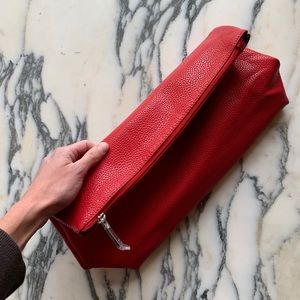 NEW Charming Charlie Red Faux Leather Pouch Clutch